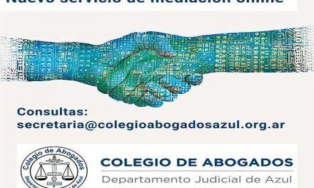 <span style='color:#e57026;font-size:15px;'>Mediación online</span><br/><span></span><p/>Nuevo servicio del Colegio de Abogados de Azul