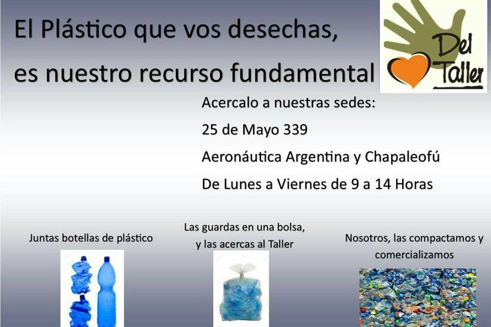 <span style='color:#e57026;font-size:15px;'>Nueva campaña</span><br/><span></span><p/>El Taller Protegido Tandil recibe plásticos